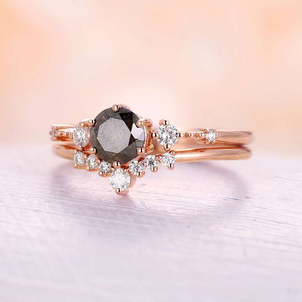 Salt and pepper diamond engagement ring set yellow gold vintage engagement ring unique moissanite Cluster ring wedding Bridal Anniversary