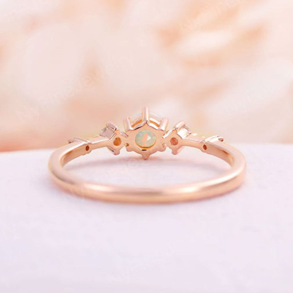 Faceted opal engagement ring rose gold vintage art deco engagement ring diamond ring wedding Promise Anniversary ring