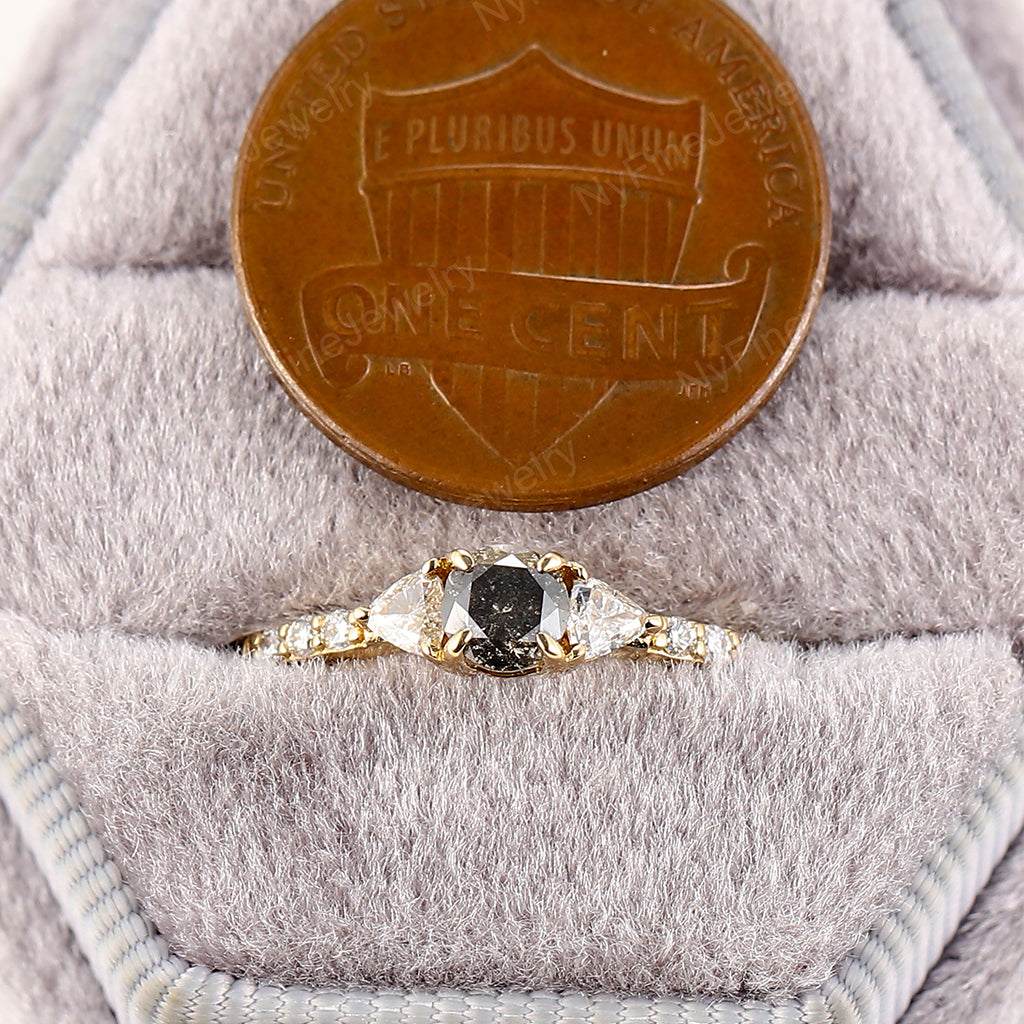 Round cut Salt and pepper diamond engagement ring yellow gold engagement ring diamond Cluster ring wedding Bridal Multi stone Anniversary