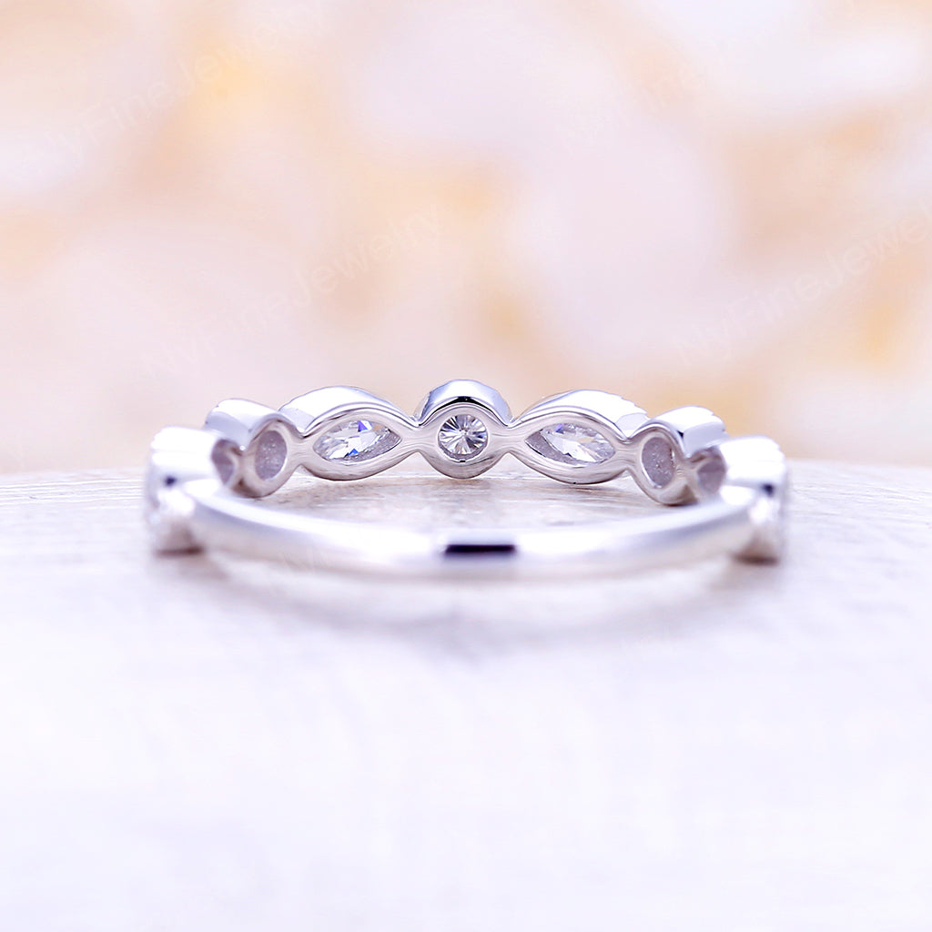 White Gold Wedding Band Art Deco Moissanite marquise vintage Eternity band Antique Dainty Stacking Bridal Promise Anniversary ring
