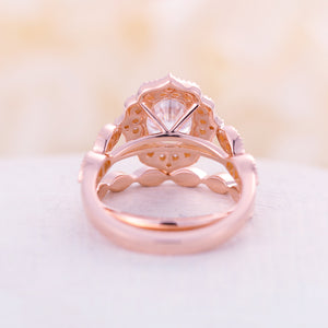 Moissanite engagement ring set Rose gold Vintage engagement ring Antique Flower Diamond Eternity wedding Women Bridal Promise