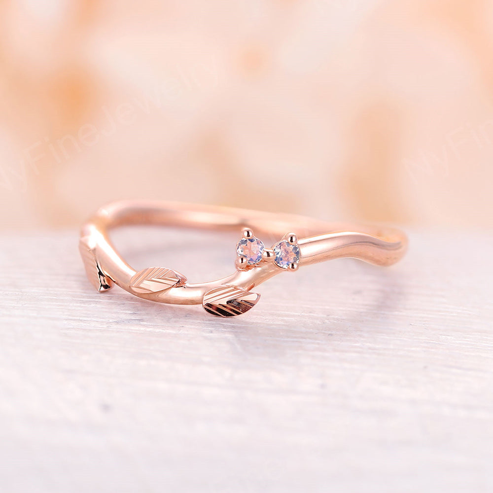Moonstone wedding band Curved florence leaf wedding band vintage Diamond Cluster band Unique woodland band branch ring 14k solid gold
