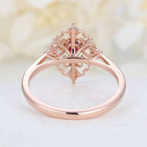 Art deco engagement ring Vintage ruby engagement ring rose gold Floral Unique Diamond wedding Bridal Anniversary