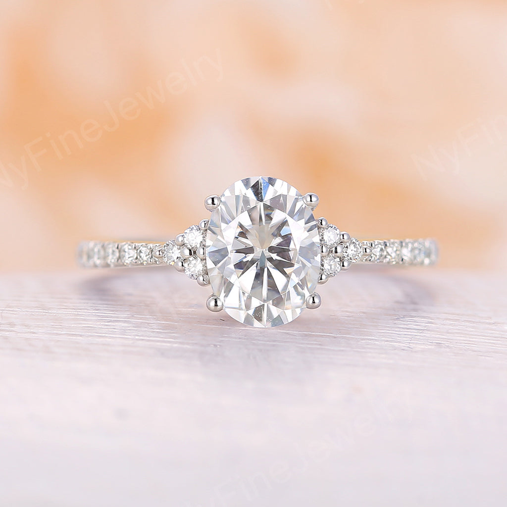Moissanite engagement ring white gold oval moissanite ring diamond band vintage unique art deco cluster ring wedding Bridal Anniversary