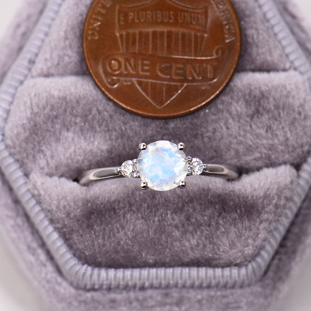 Moonstone Engagement Ring 14K white gold round cut moonstone engagement ring Three stone Diamond solitary ring wedding Bridal Anniversary ring