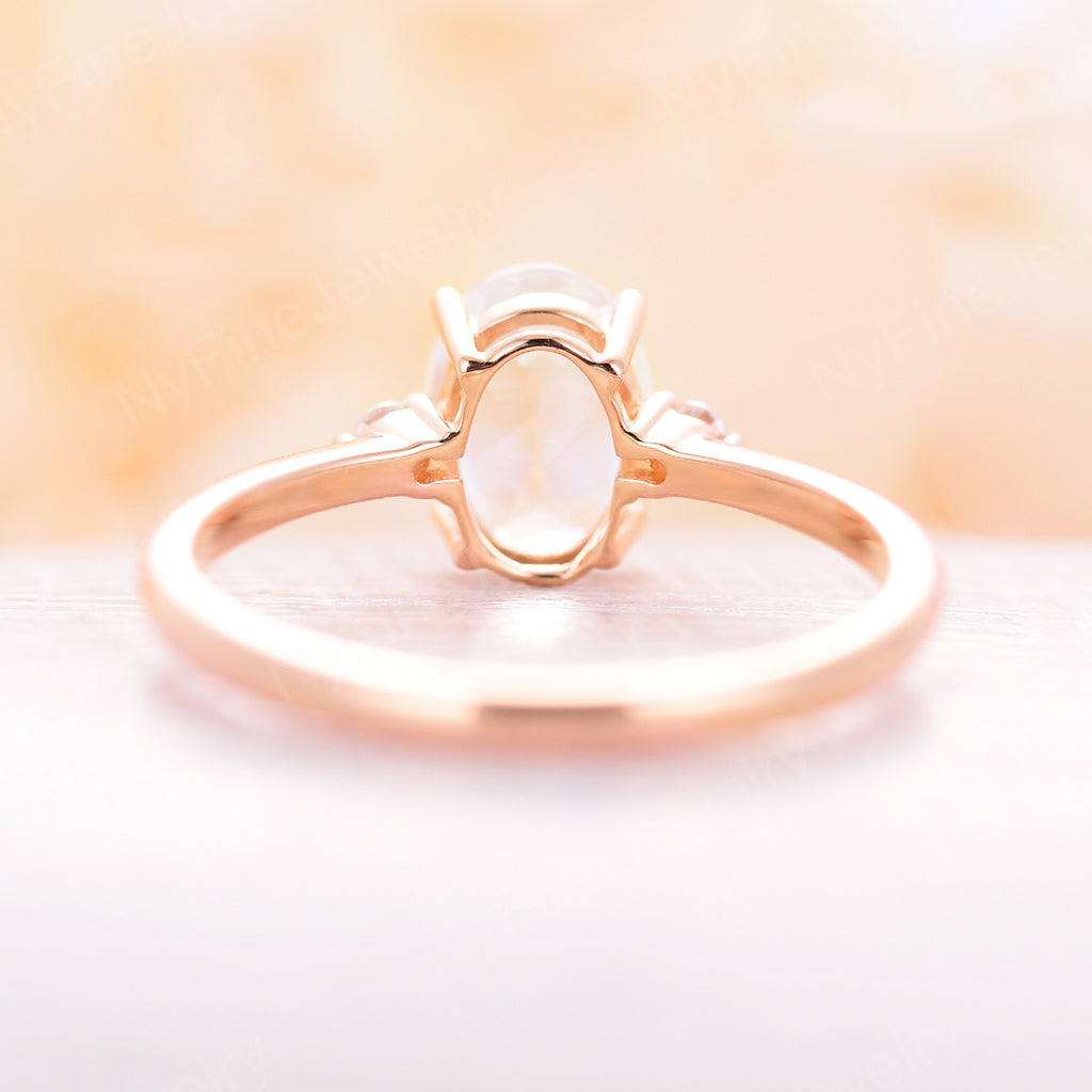 Moonstone Engagement Ring Rose gold Oval cut engagement ring Three stone Diamond wedding Cluster Bridal Promise