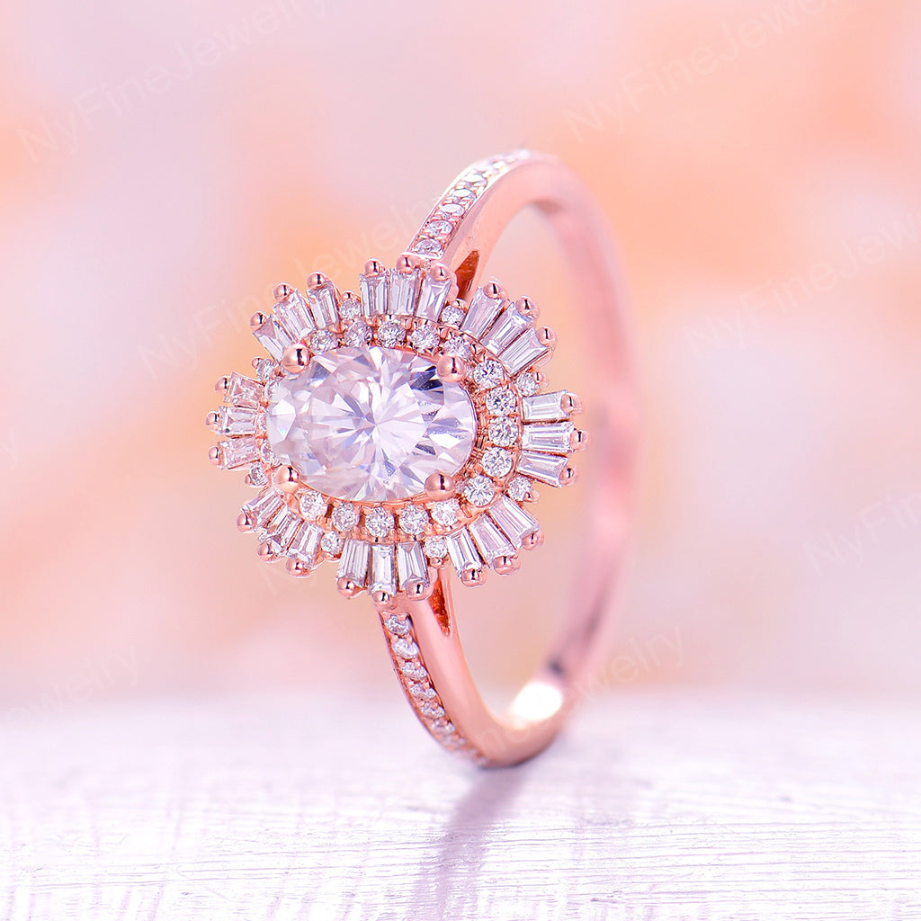 Vintage moissanite engagement ring 14k rose gold diamond band Art deco ring wedding woman Unique Anniversary Promise ring