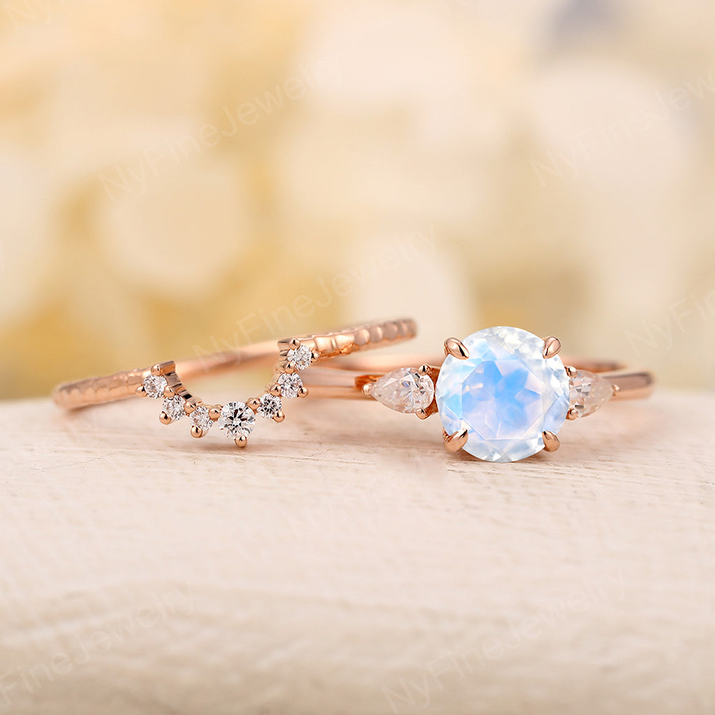 Moonstone Engagement Ring rose gold engagement ring round cut moonstone pear moissanite wedding Cluster Prong ring Promise Anniversary