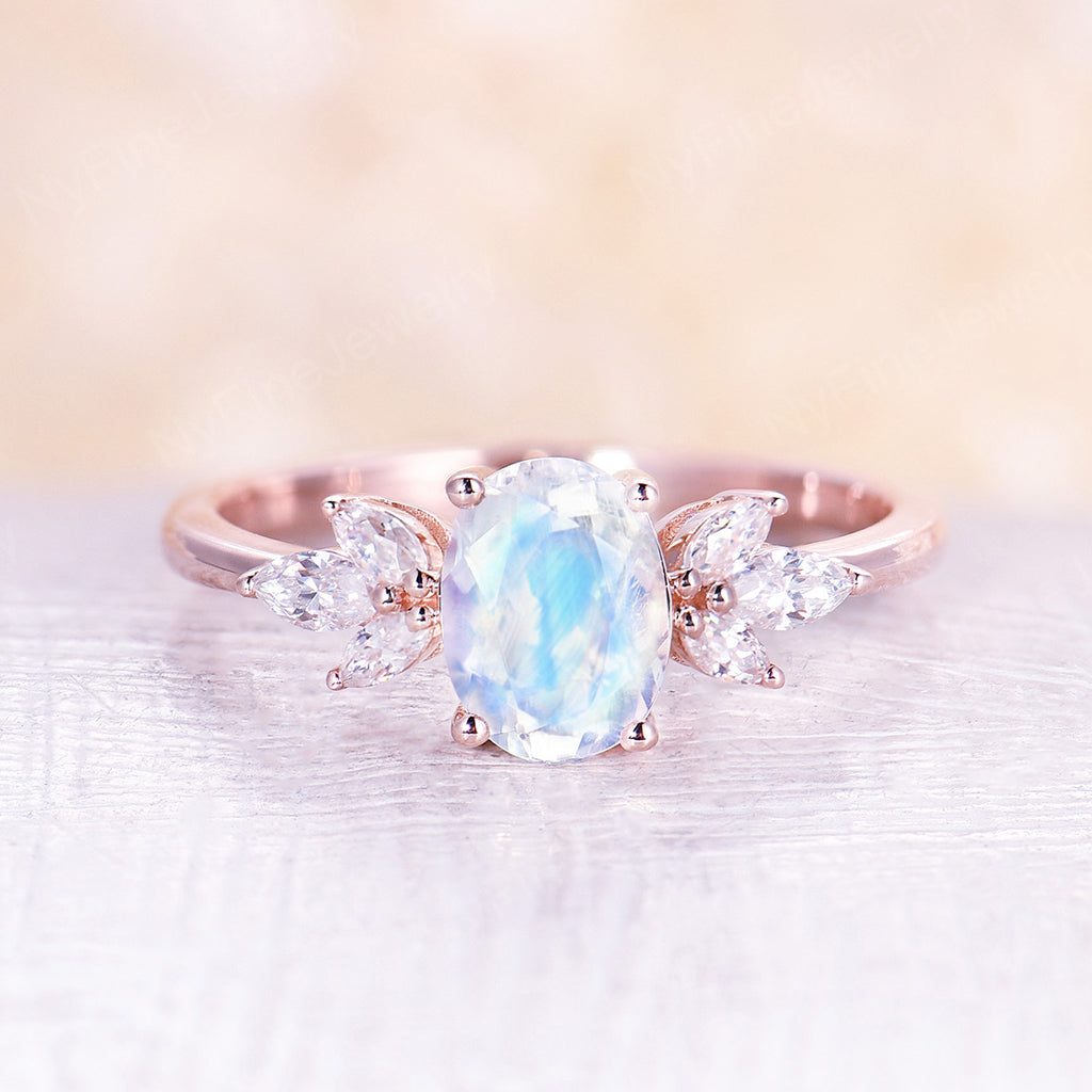 Oval moonstone engagement ring vintage unique rose gold engagement ring for women Marquise cut Moissanite Bridal Anniversary ring