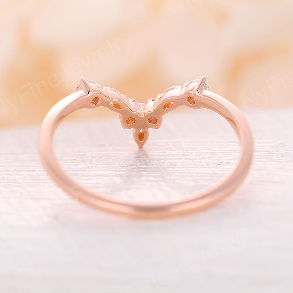 Curved Wedding Band vintage Rose gold wedding band Moissanite Ring Unique Bridal set stacking Delicate Promise matching band Anniversary gift