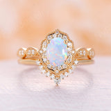 Opal engagement ring rose gold engagement ring set vintage Solitaire opal ring antique wedding diamond halo unique band Anniversary gift