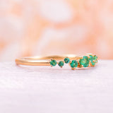 Natural emerald Cluster ring Twig engagement Ring Rose Gold Floral Unique Wedding Women Bridal set Multi Gift Promise Anniversary