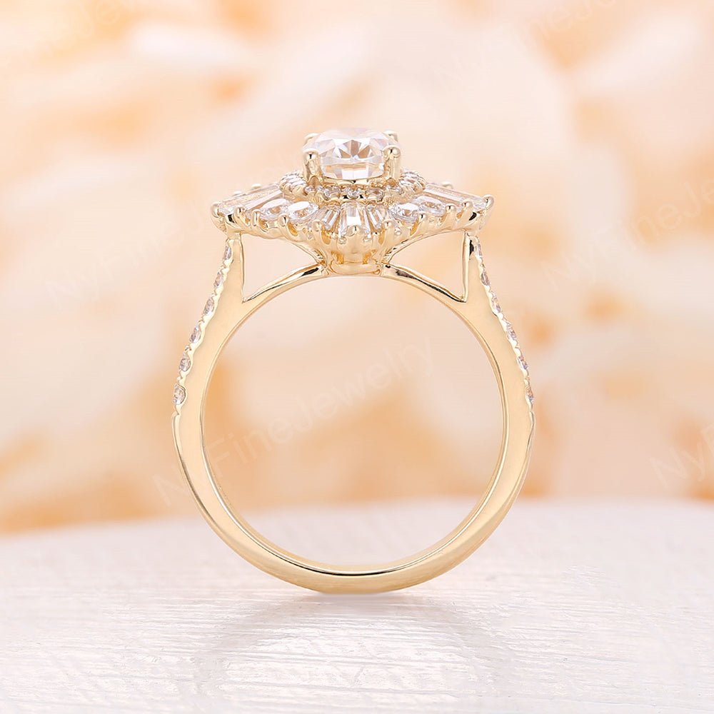 Vintage moissanite engagement ring 14k rose gold CZ band Oval moissanite rings Art deco ring wedding woman Unique Anniversary Promise