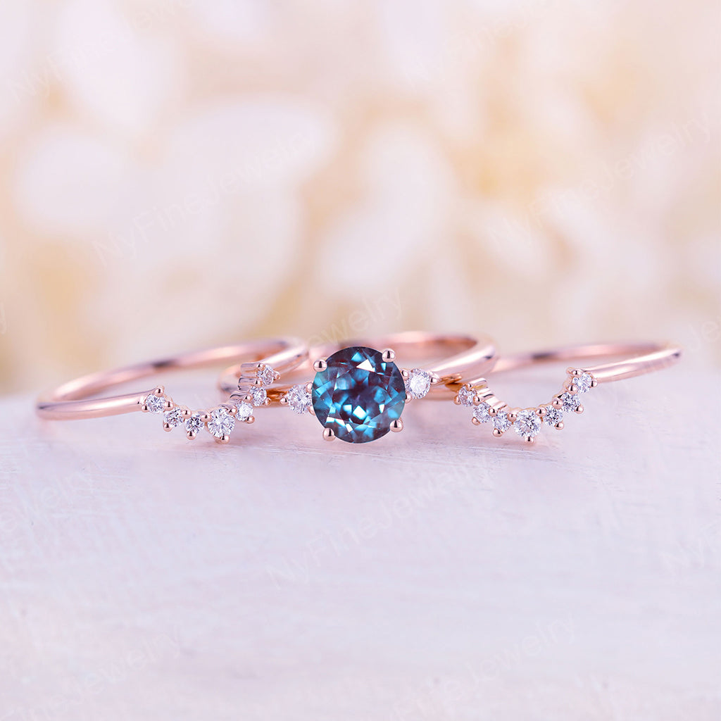 Alexandrite engagement ring set rose gold engagement ring vintage Curved Diamond wedding band Stacking Bridal Anniversary ring