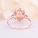Pink Morganite engagement ring vintage Unique engagement ring rose gold wedding Halo Cluster Baguette Diamond Flower Anniversary