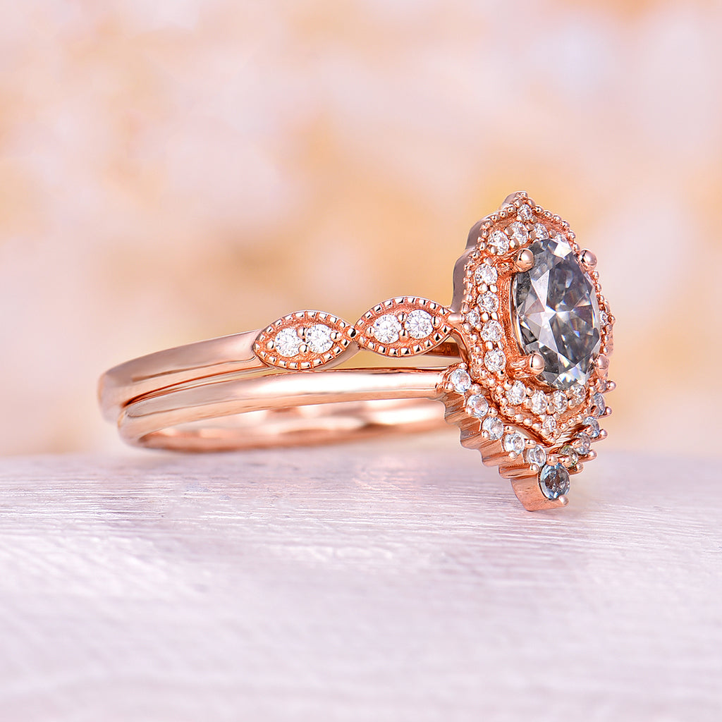 Grey Moissanite engagement ring oval moissanite ring vintage rings rose gold bridal set unique curved Swiss Blue Topaz band Anniversary ring