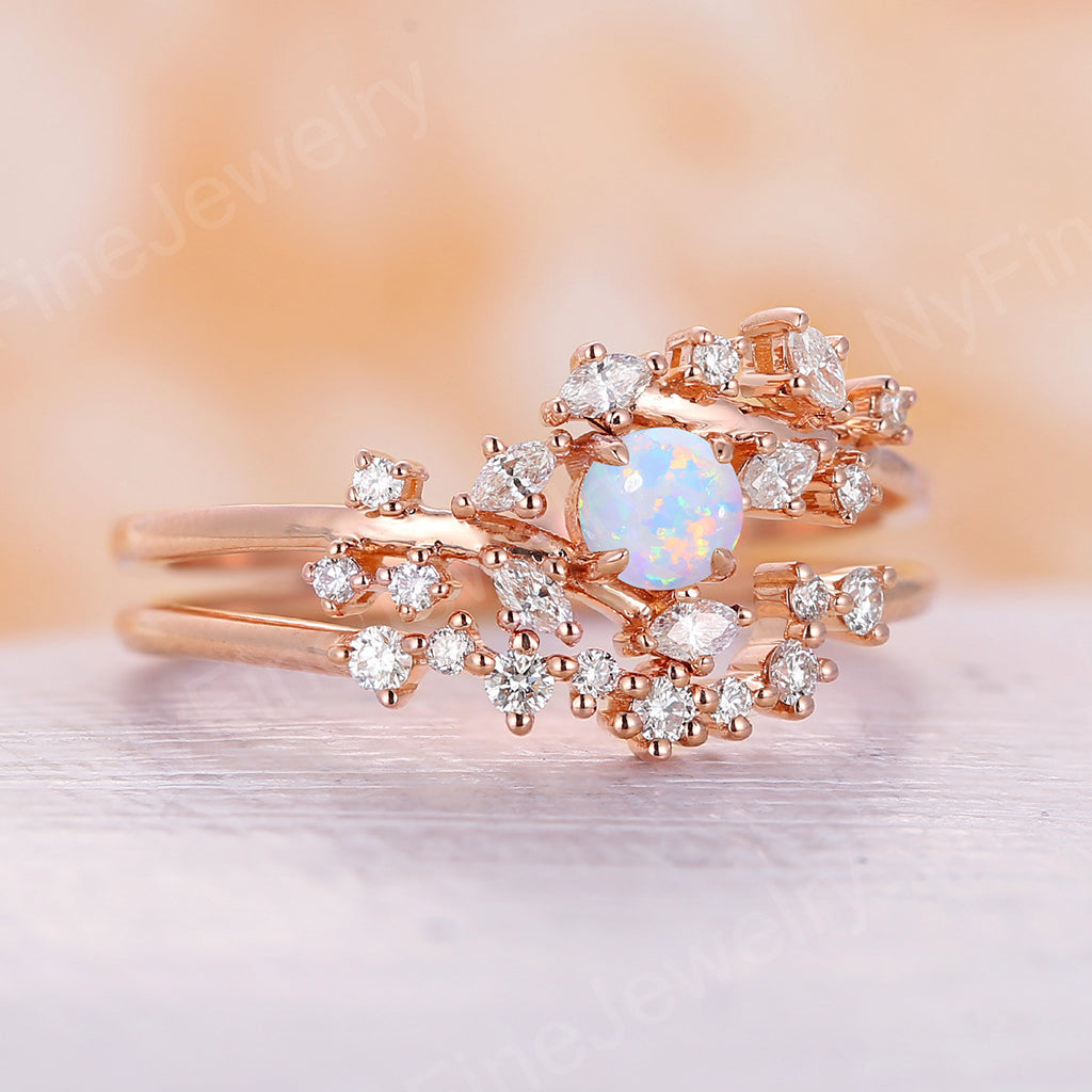 Opal engagement ring Rose gold engagement ring set Diamond Cluster ring Unique Delicate leaf wedding Bridal Promise Anniversary