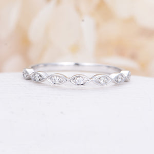 Diamond Wedding Band white gold Art Deco marquise vintage Half Eternity band Dainty Stacking Promise Anniversary Gift Matching band