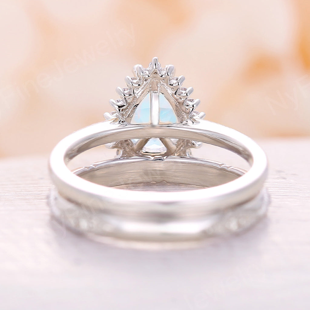 Pear shaped Moonstone engagement ring vintage Art deco Unique engagement ring white gold Cluster Diamond wedding Anniversary