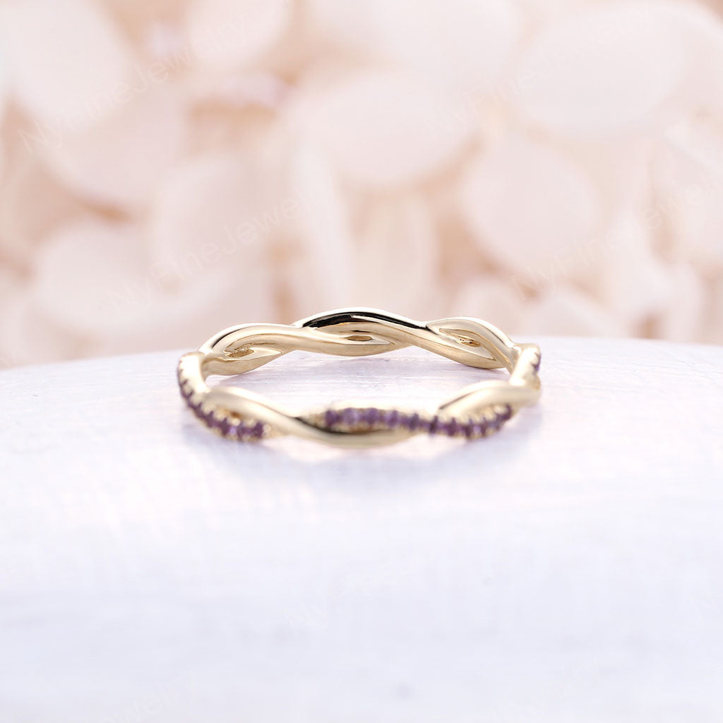 Infinity wedding band amethyst yellow gold band Eternity Twisted band Delicate Unique full Twining Micro Pave Bridal Dainty Stacking Promise