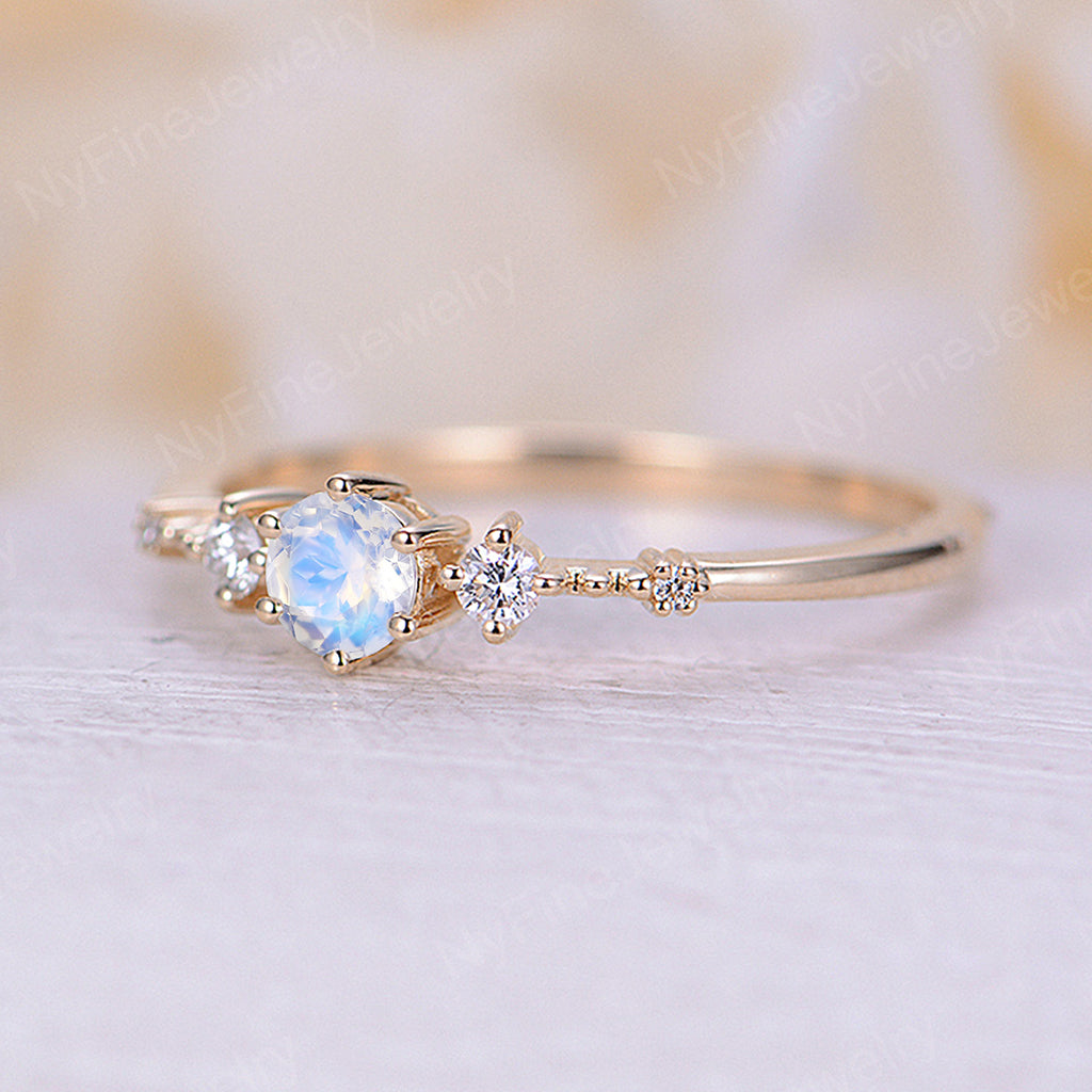 Moonstone engagement ring 14k yellow gold Vintage engagement ring for wedding unique ring Promise Anniversary