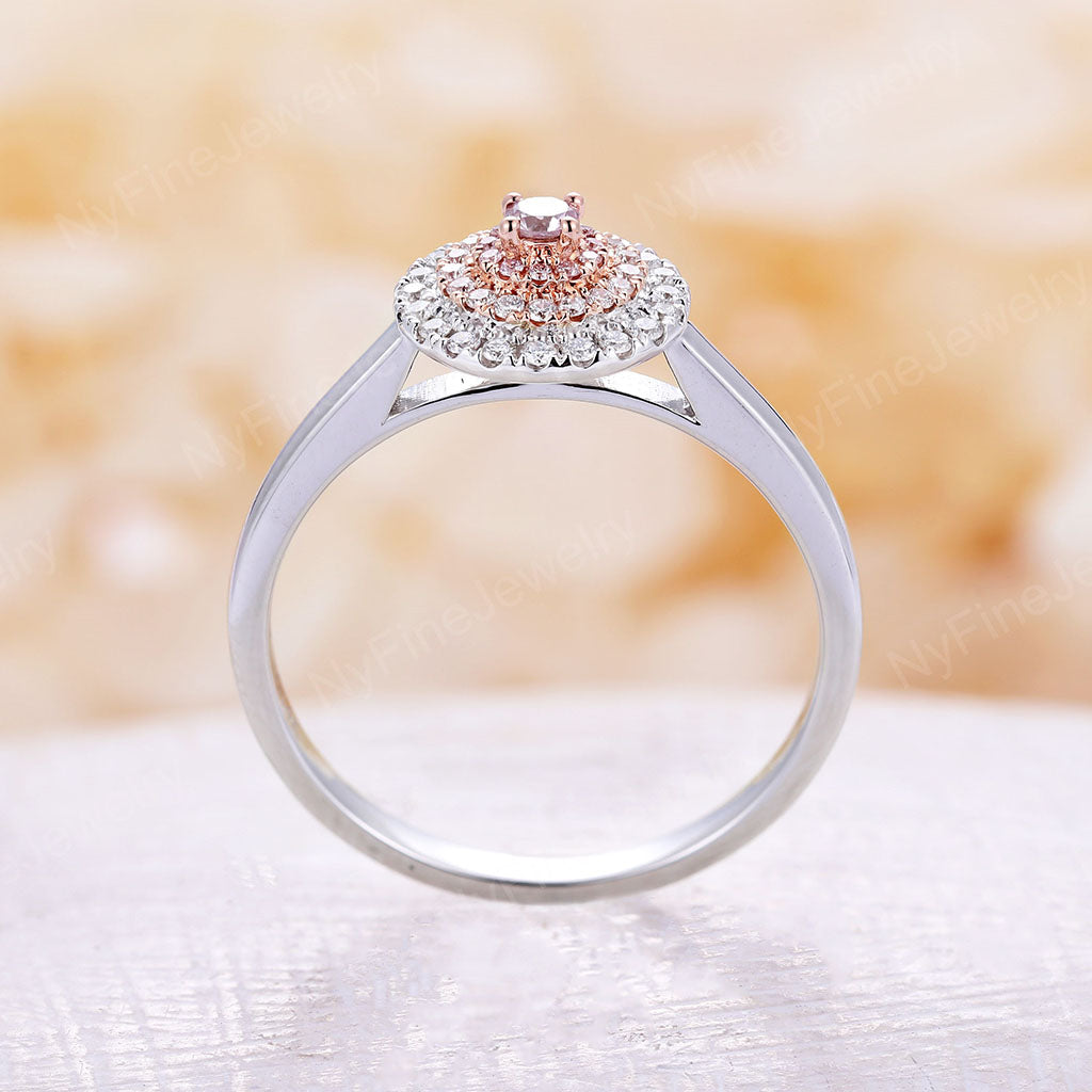 Pink diamond engagement ring white gold Unique Halo engagement ring wedding Pink diamond ring Bridal Alternative Floral Anniversary ring