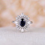 Vintage engagement ring lab sapphire engagement ring Art deco Unique ring white gold Halo Baguette stone ring Bridal Anniversary