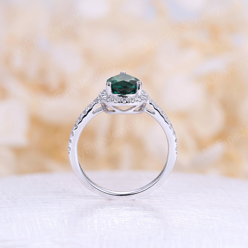 Lab Emerald engagement ring White gold vintage Pear shaped Delicate Halo diamond Half eternity Wedding Promise Anniversary