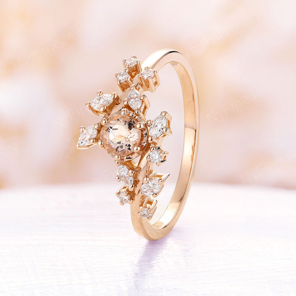 Morganite engagement ring peachy morganite yellow gold engagement ring Diamond Cluster ring Unique Delicate leaf wedding Promise Anniversary