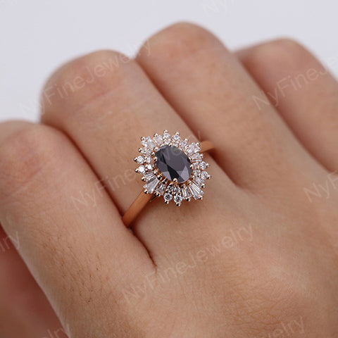 Vintage engagement ring Oval cut black onyx ring 14k/18k solid gold diamond promise Anniversary ring