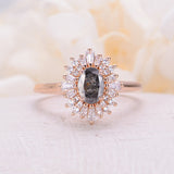 Vintage engagement ring Oval cut salt and pepper diamond ring 14k/18k solid gold diamond promise Anniversary ring