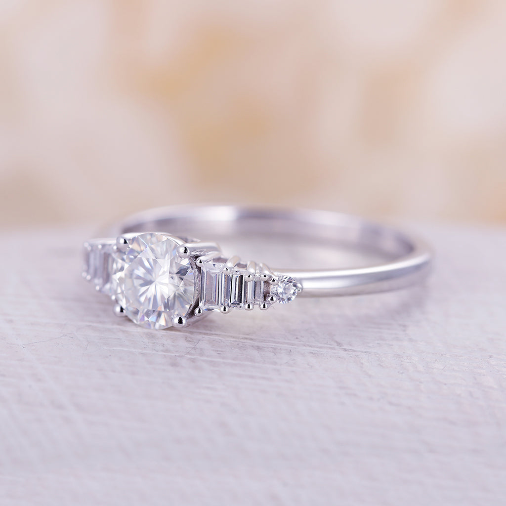 Moissanite engagement ring vintage white gold round cut diamond Delicate Half eternity unique Wedding women Promise Jewelry Anniversary gift