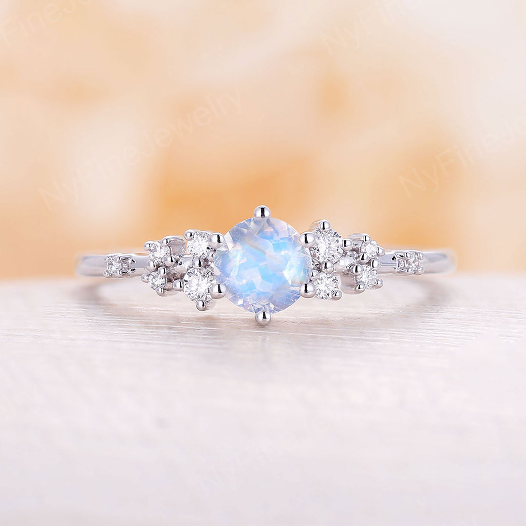 Moonstone engagement ring diamond cluster engagement ring vintage rings white gold ring round moonstone antique wedding Bridal Anniversary