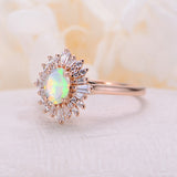 Vintage engagement ring Oval cut faceted opal ring 14k/18k solid gold diamond promise Anniversary ring