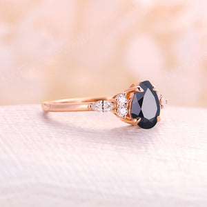 Black onyx engagement ring pear cut rose gold engagement ring vintage diamond cluster ring, wedding Bridal Set Jewelry Anniversary gift for women
