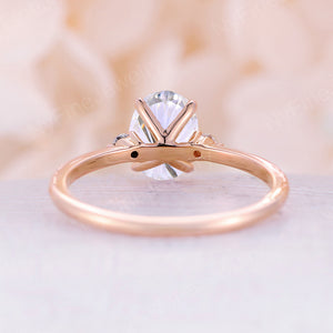 Moissanite Engagement Ring rose gold Oval cut engagement ring Three stone wedding Cluster Prong set Promise Anniversary