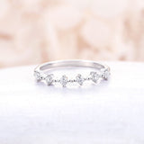 Diamond Cluster Ring white gold wedding band Floral Unique Wedding Band Bridal set Anniversary stacking matching band Christmas