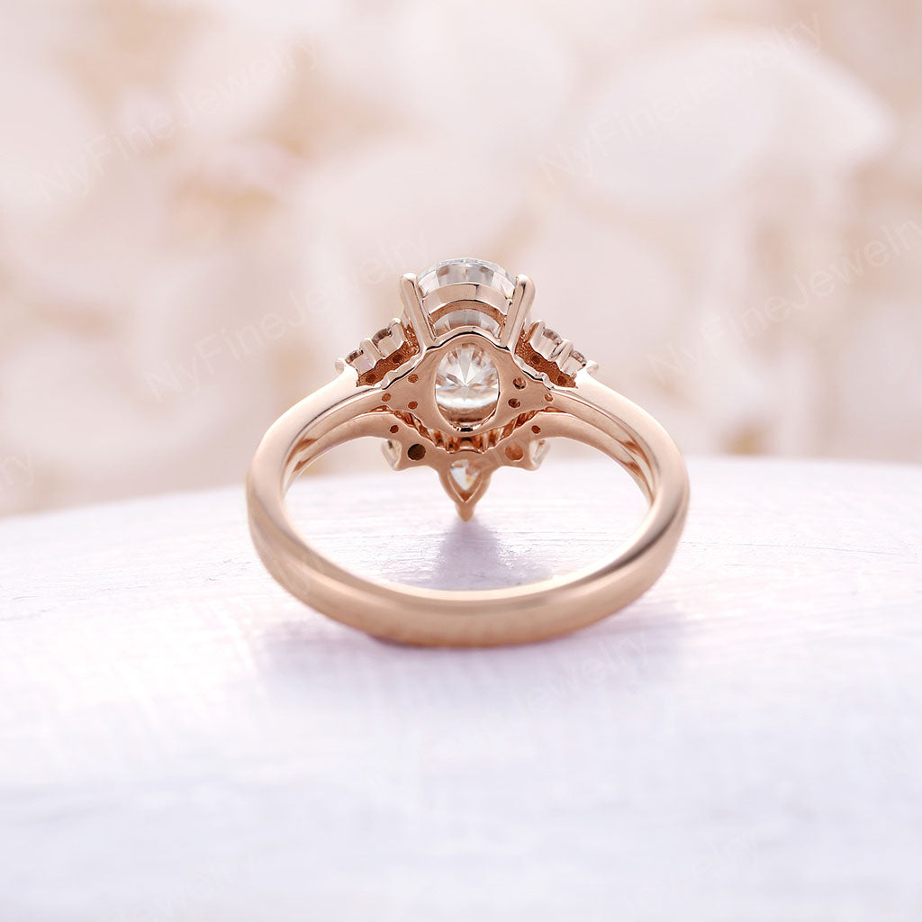Oval Moissanite Engagement Ring set art deco Rose gold engagement ring curved wedding band unique Bridal set Promise Anniversary ring