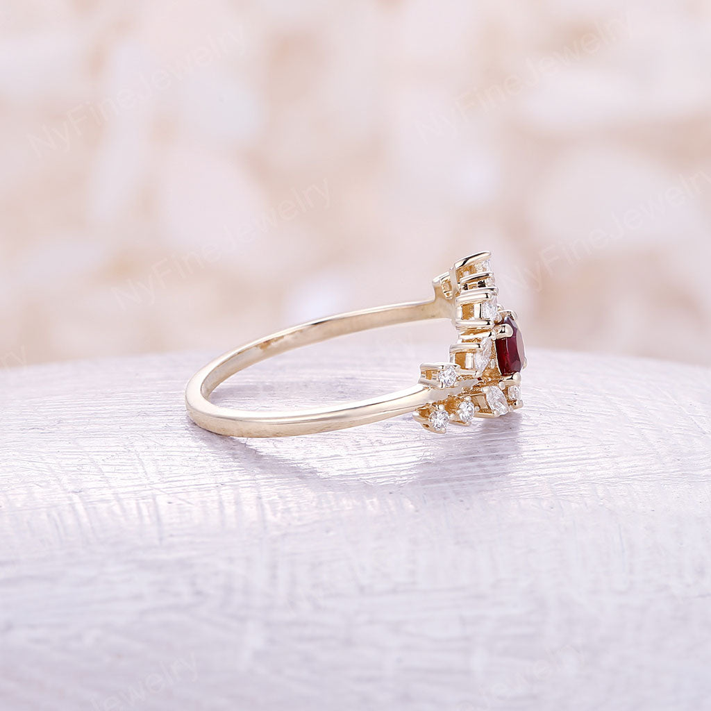 Yellow gold engagement ring Diamond Cluster ring Unique Ruby engagement ring Delicate leaf wedding Bridal set Promise Anniversary Gift