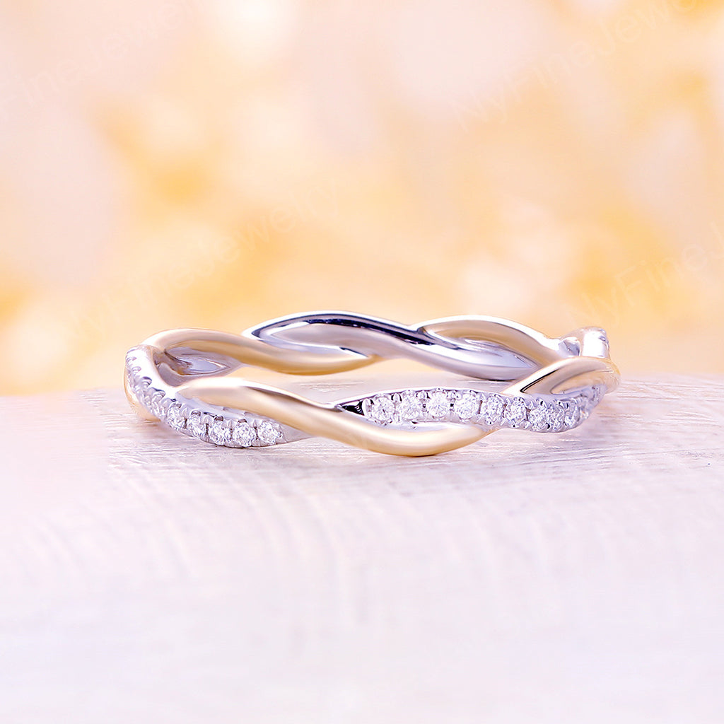 Infinity wedding band white gold moissanite Eternity band Twisted Delicate Unique Twining Micro Pave Bridal Dainty Stacking Promise