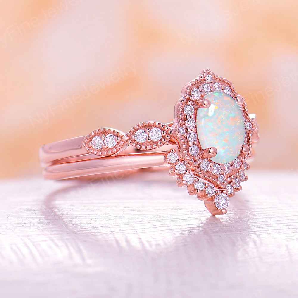 White Opal engagement ring women rose gold Halo diamond vintage oval cut bridal set flower antique wedding Jewelry Anniversary gift for her