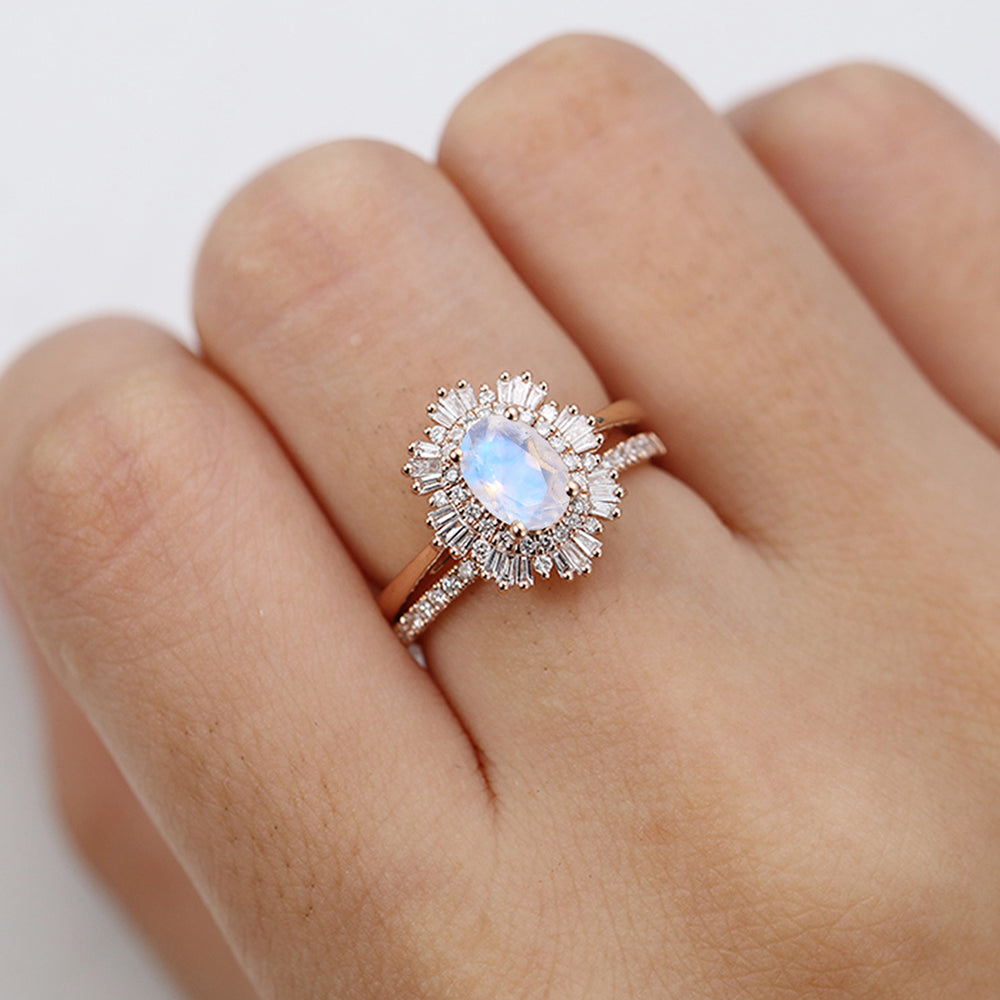 Vintage moonstone engagement ring woman rose gold halo diamond moonstone Oval cut Antique wedding Unique Jewelry Anniversary Promise gift for her