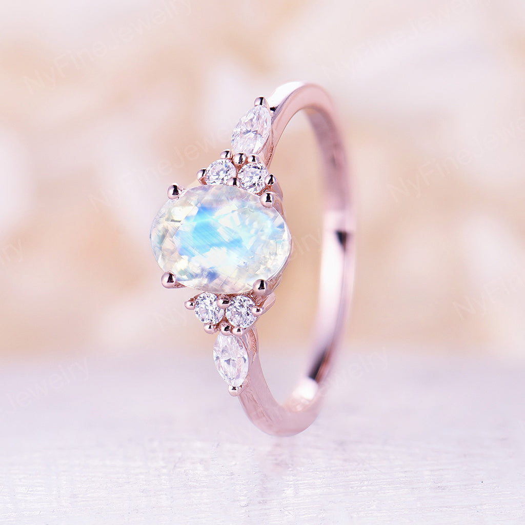 Moonstone engagement Ring 14K/18K Gold engagement ring Oval shaped moonstone ring diamond cluster unique rings wedding bridal ring