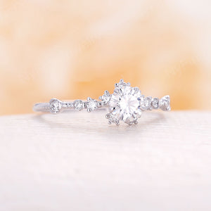 Moissanite engagement ring art deco engagement ring Diamond Cluster unique ring Delicate leaf wedding Bridal ring Promise Anniversary Gift