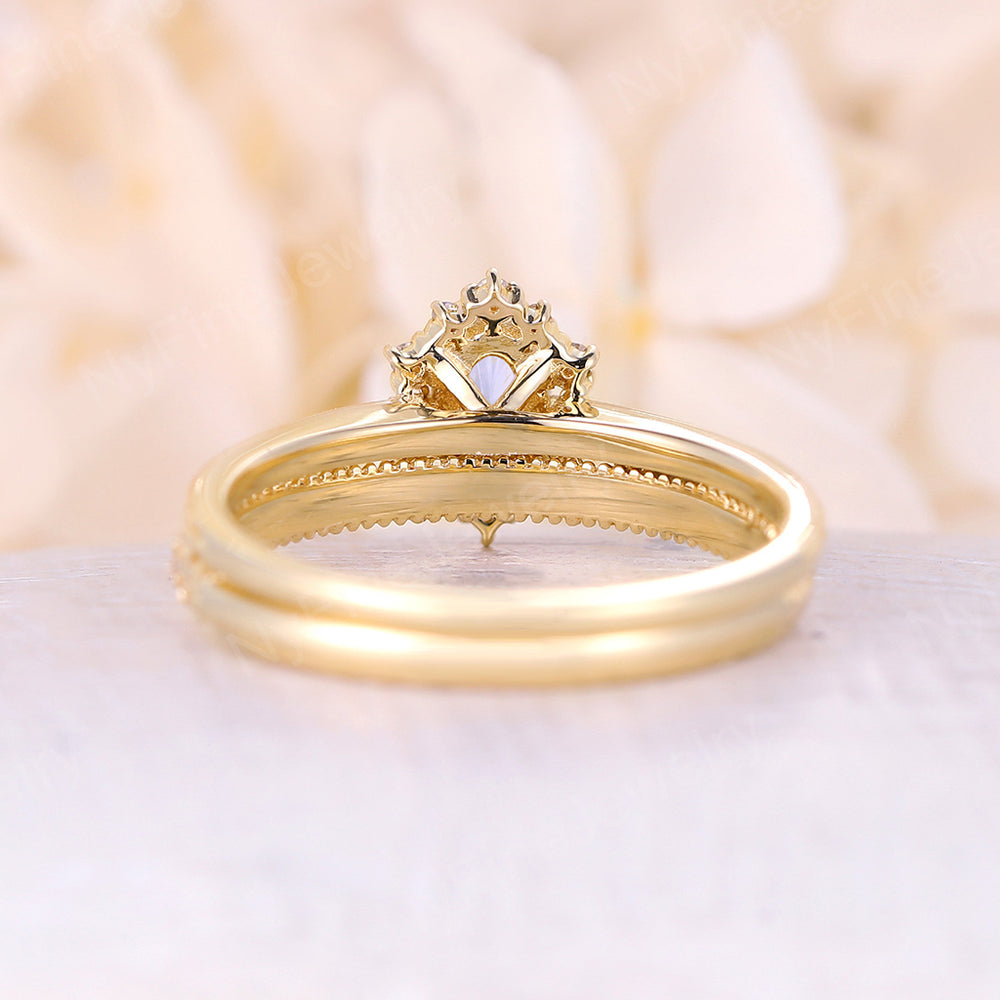 Vintage Moissanite Engagement Ring Set Oval cut Engagement Ring yellow gold ring diamond ring halo wedding band Bridal set Anniversary ring