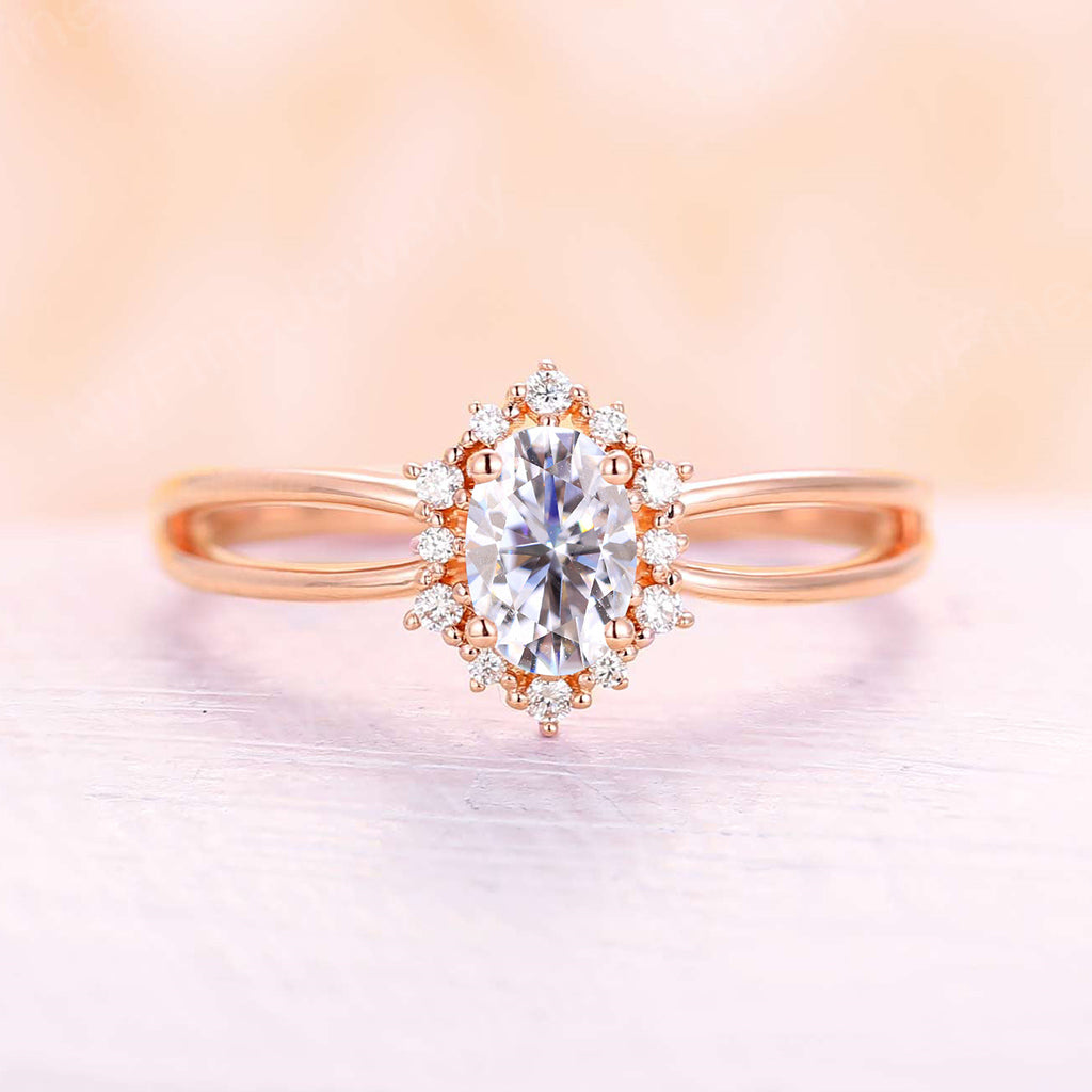 Vintage engagement ring Oval Moissanite engagement ring rose gold diamond ring halo wedding ring Anniversary promise ring