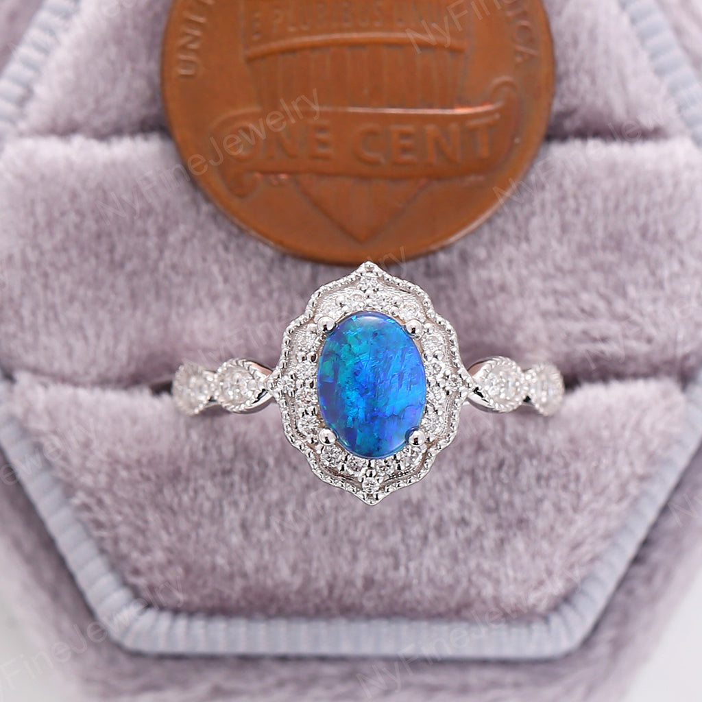 Black Opal engagement ring white gold engagement ring moissanite halo vintage oval opal Solitaire ring set flower antique wedding Anniversary