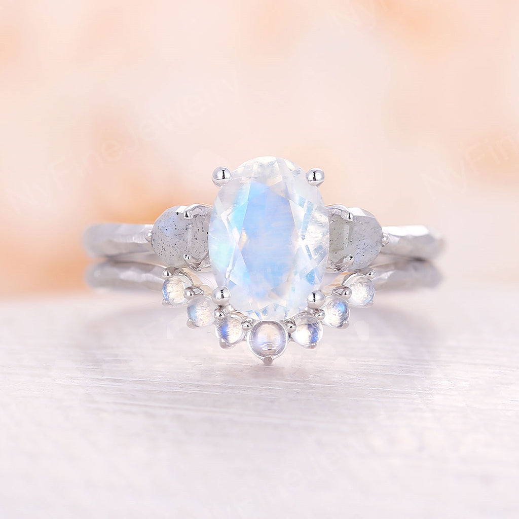 Moonstone engagement ring set white gold labradorite cluster ring Unique engagement ring vintage Curved wedding Promise