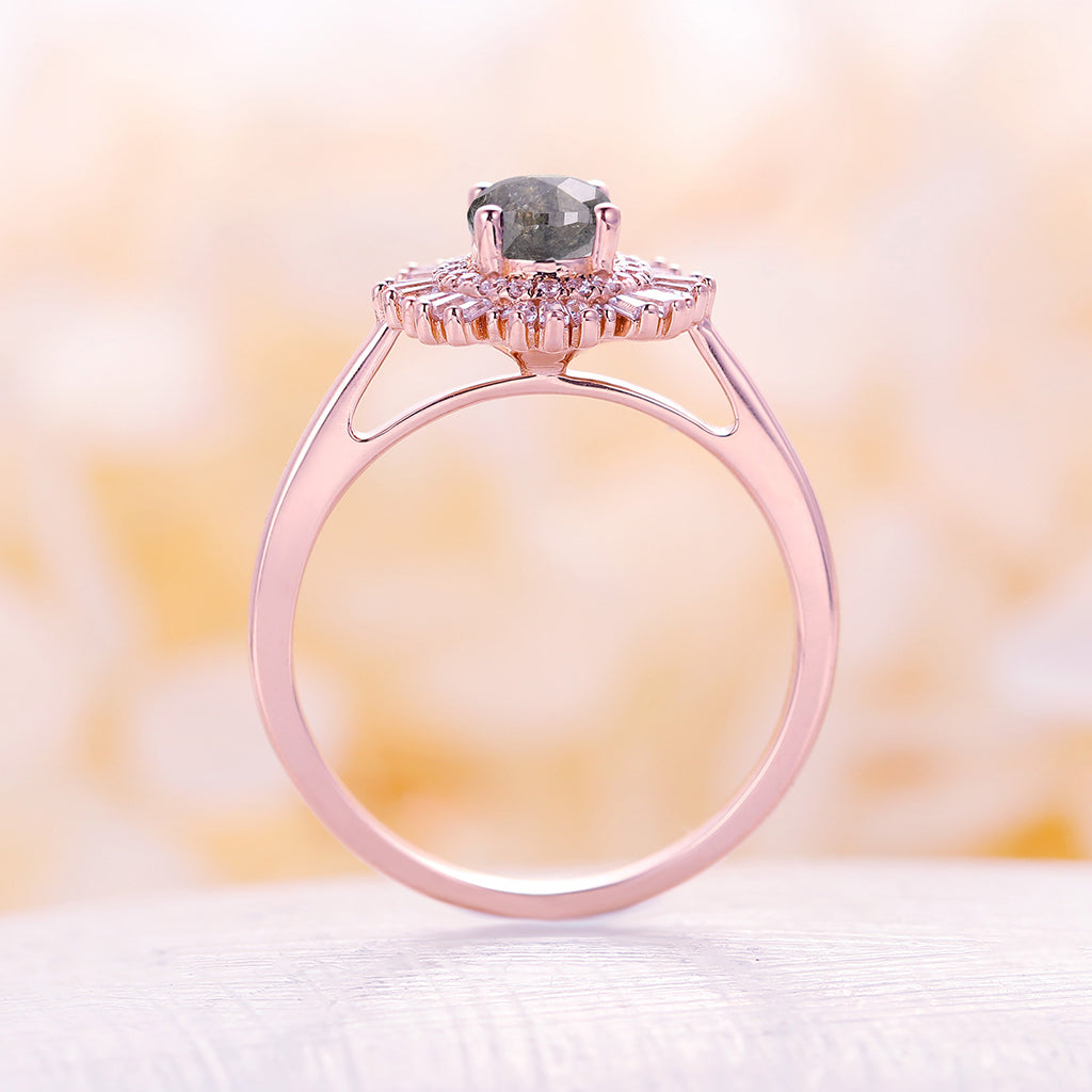 Vintage salt and pepper diamond engagement ring diamond 14k solid rose gold Art deco Unique antique women rings Anniversary gift for her