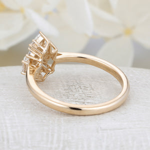Diamond Cluster ring Flower Unique engagement Ring yellow gold Mini Gift Floral Baguette Pear shaped oval Wedding Band Marquise Women Bridal
